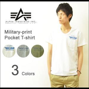ALPHA(アルファ) ミリタリープリント ポケットTシャツ メンズ ミリタリー Vネック へリンボーン エアフォース カットソー 半袖 ポケT TC1029|robinjeansbug