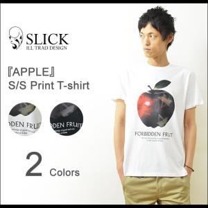 Slick(スリック) APPLE プリントTシャツ メンズ 半袖 アップル リンゴ フォトT カットソー キレイめ シンプル インド綿 天竺 5268842 robinjeansbug