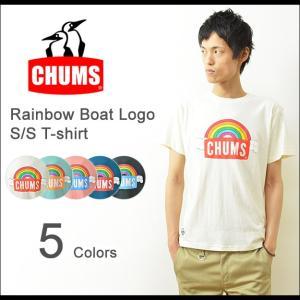 CHUMS(チャムス) レインボー ロゴTシャツ メンズ チャムス 半袖 プリント ボートロゴ アウトドア 虹 雲 ペンギン ブランド 夏フェス レディース CH01-1036|robinjeansbug