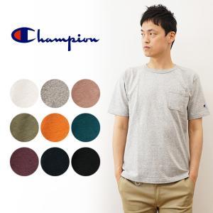 Champion チャンピオン T1011 アメリカ製 ヘビーウエイト 半袖 ポケット Tシャツ メンズ 袖 ワンポイント ブランド ロゴ 刺繍 無地 MADE IN USA C5-B303|robinjeansbug