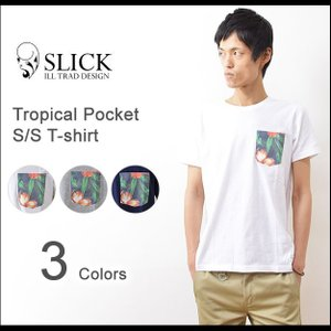 Slick(スリック) トロピカル 柄ポケット Tシャツ メンズ 半袖 ポケT カットソー フラワー ハワイアン 無地 クルーネック Adequate アディクエート 7287211|robinjeansbug