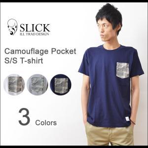 Slick(スリック) カモフラ 柄ポケット Tシャツ メンズ 半袖 ポケT カットソー カモフラージュ 迷彩 ミリタリー 無地 Adequate アディクエート 7287210|robinjeansbug