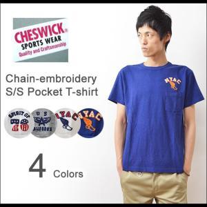 CHESWICK(チェスウィック) チェーン刺繍 ポケットTシャツ メンズ 半袖 ポケT スラブ アメカジ 東洋エンタープライズ CH77018|robinjeansbug