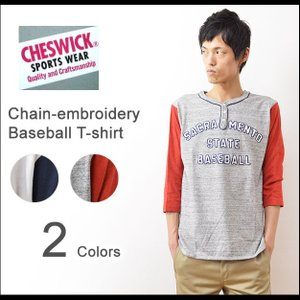 CHESWICK(チェスウィック) 7分袖 ベースボールTシャツ メンズ チェーン刺繍 袖切替 東洋エンタープライズ アメカジ ヘンリーネック CH67082|robinjeansbug