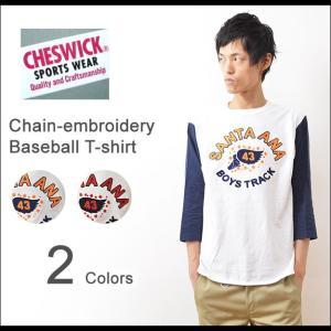CHESWICK(チェスウィック) 7分袖 ベースボールTシャツ メンズ チェーン刺繍 袖切替 東洋エンタープライズ アメカジ クルーネック CH67081|robinjeansbug