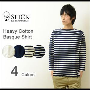 Slick(スリック) ヘビーコットン バスクシャツ メンズ ボーダー ポケットTシャツ 無地 ポケT ロンT カットソー 7分袖 長袖 ボートネック 7189201 7189202|robinjeansbug