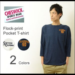 CHESWICK(チェスウィック) フロッキープリント 7分袖 ポケットTシャツ メンズ 七分袖 クルーネック ポケT カットソー カリフォルニア CH67195|robinjeansbug