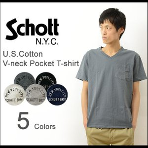 Schott ショット 裾 ワンポイント Vネック ポケット 半袖 Tシャツ メンズ ポケT パックT カットソー 無地 USA コットン Made In Japan 日本製 シンプル 3133036|robinjeansbug
