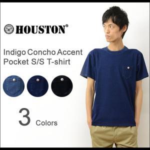 HOUSTON ヒューストン コンチョ アクセント 半袖 インディゴ ポケット Tシャツ メンズ 無地 ポケT ボタン ボーダー 21128|robinjeansbug