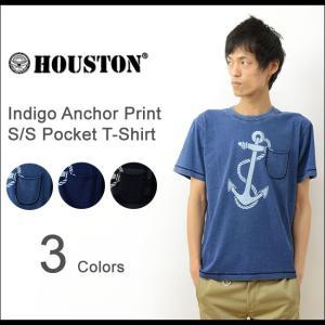 HOUSTON ヒューストン アンカー プリント インディゴ 半袖 ポケット Tシャツ メンズ ポケT デニム マリン イカリ 海軍 NAVY 21129|robinjeansbug