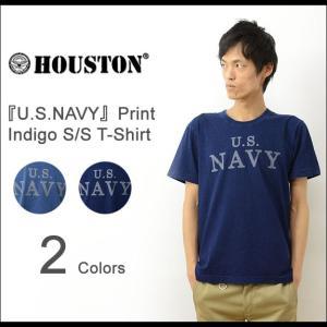 HOUSTON ヒューストン U.S. NAVY プリント インディゴ 半袖 ポケット Tシャツ メンズ ポケT デニム ミリタリー 海軍 ビンテージ ヴィンテージ ボーダー 21130|robinjeansbug