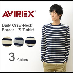 AVIREX アヴィレックス デイリー 長袖 ボーダー Tシャツ メンズ インナー クルーネック 丸首 カットソー 下着 ロンT アビレックス USA 大きいサイズ XL 6163369|robinjeansbug