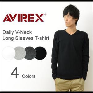 AVIREX アヴィレックス デイリー 長袖 Vネック 無地 Tシャツ メンズ ストレッチ インナー 下着 カットソー ロンT アビレックス USA 大きいサイズ XL 6153480|robinjeansbug