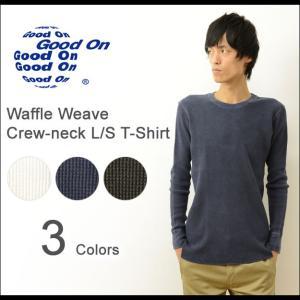 Good On グッドオン ピグメント 染め サーマル 長袖 Tシャツ メンズ MADE IN JAPAN 日本製 無地 ワッフル クルーネック 丸首 ロンT インナー GOLT1202|robinjeansbug
