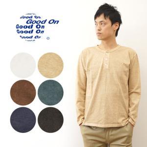 Good On グッドオン ピグメント 染め ヘンリーネック 長袖 Tシャツ メンズ MADE IN JAPAN 日本製 無地 厚手 首ボタン ロンT インナー GOLT1601|robinjeansbug