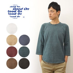 Good On グッドオン ピグメント 染め 七分袖 ベースボール Tシャツ メンズ MADE IN USA 米国製 無地 厚手 丸首 ラグラン 7分袖 インナー GOLT-601P GOLT-601C|robinjeansbug