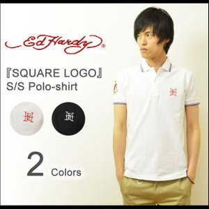 Ed Hardy(エドハーディー) SQUARE LOGO 半袖ポロシャツ メンズ タイト ポロシャツ タトゥー スクエアロゴ ワンポイント刺繍 正規ライセンス EDPL002|robinjeansbug
