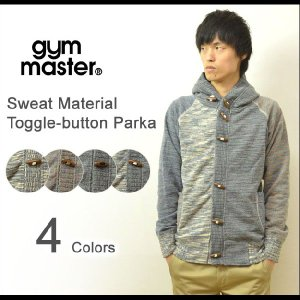 gym master(ジムマスター) スウェット フードパーカー メンズ 壺車編み カーディガン トグルボタン ジャケット 霜降り ミックスカラー G933575|robinjeansbug