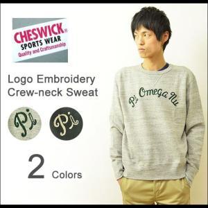 CHESWICK(チェスウィック) チェーン刺繍 クルーネック スウェット メンズ トレーナー スエット 裏起毛 カレッジ ロゴ ガゼット 霜降り CH66862|robinjeansbug
