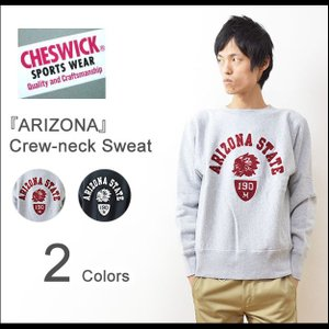 CHESWICK(チェスウィック) ARIZONA STATE クルーネック スウェット メンズ トレーナー スエット チェーン刺繍 裏起毛 厚手 ヘビーオンス サイドパネル CH67076|robinjeansbug