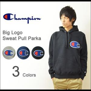 Champion(チャンピオン) ビッグロゴ スウェット プルパーカー メンズ ビッグC ワッペン スエット サガラ刺繍 厚手 裏起毛 大きいサイズ C3-E127|robinjeansbug