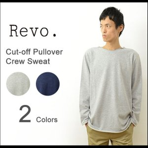 Revo. レヴォ カットオフ プルオーバー クルー ネック スウェット メンズ 無地 長袖 スエット オーバー サイズ 大きい シンプル レボ TH-2226|robinjeansbug