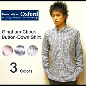 University of Oxford(ユニバーシティオブオックスフォード) L/Sギンガムチェック オックスフォードボタンダウンシャツ 長袖 【0701-05001】|robinjeansbug