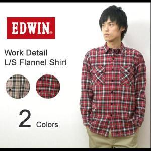 EDWIN(エドウィン) チェック柄フランネル素材 ワークディテールシャツ 長袖 ネルシャツ 大人のふだん着 【45280】 robinjeansbug