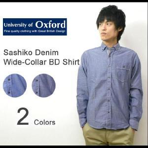 University of Oxford(ユニバーシティオブオックスフォード) サシコ デニム ワイドカラー BDシャツ 長袖 ダンガリー ボタンダウンシャツ ドット【0701-25012】|robinjeansbug