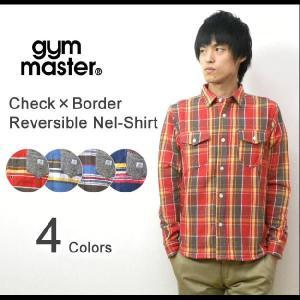 gym master(ジムマスター) チェック×ボーダー リバーシブルシャツ 起毛 長袖 フランネルシャツ アウトドア アメカジ【G721584】|robinjeansbug
