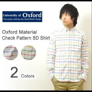University of Oxford(ユニバーシティオブオックスフォード) オックスフォード素材 チェック柄 ボタンダウンシャツ 長袖 ウインドペン柄 【0701-31000】|robinjeansbug