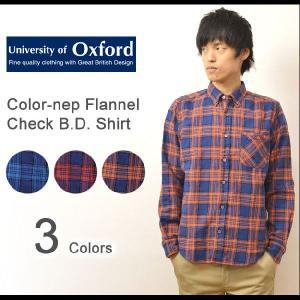 University of Oxford(ユニバーシティオブオックスフォード) カラーネップ フランネル チェック柄 ボタンダウンシャツ ウール混紡 長袖 ネルシャツ 0701-35019|robinjeansbug