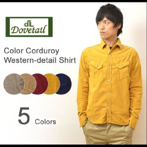 Dovetail(ダブテイル) カラーコーデュロイ ウエスタンシャツ フラップポケット 長袖 コーデュロイシャツ アメカジシャツ 7181905|robinjeansbug