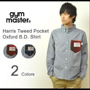 gym master(ジムマスター) ハリスツイードポケット オックスフォード BDシャツ 長袖 柄ポケット ボタンダウンシャツ HarrisTweed G921500|robinjeansbug