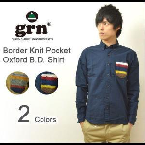 grn(ジーアールエヌ) ボーダーニットポケット オックスフォード BDシャツ 柄ポケット ボタンダウンシャツ ボーダーポケット GRN213125N|robinjeansbug