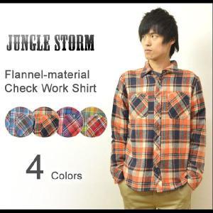 JUNGLE STORM(ジャングルストーム) フランネル素材 チェック柄 ワークシャツ 起毛生地 チェックシャツ ネルシャツ クレイジーカラー カラフル 580302|robinjeansbug