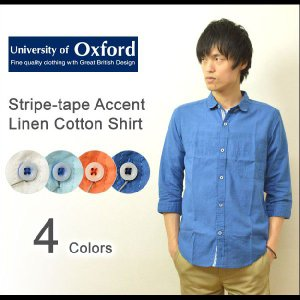 University of Oxford(ユニバーシティオブオックスフォード) ストライプテープ リネンコットン シャツ メンズ 7分袖 綿麻 キレイめ 夏素材 無地 0701-43112|robinjeansbug