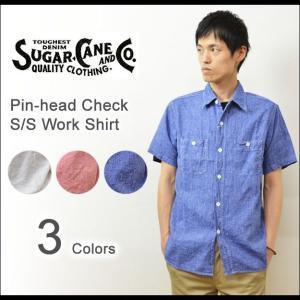 SUGAR CANE(シュガーケーン) ピンヘッドチェック 半袖シャツ メンズ ワークシャツ チェックシャツ マチ付き カラカン 東洋 エンタープライズ SC36605|robinjeansbug