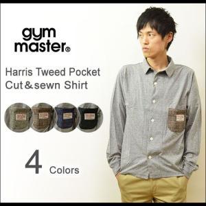 gym master(ジムマスター) ハリスツイード ポケット カットソー シャツ メンズ 長袖シャツ 柄ポケット ウール ハリスツイードタグ HarrisTweed G121388|robinjeansbug