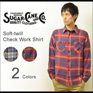 SUGAR CANE(シュガーケーン) ソフトツイル チェック ワークシャツ メンズ チェックシャツ 長袖 ネルシャツ フランネル アメカジ 東洋 日本製 SC26710|robinjeansbug