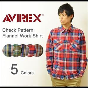 AVIREX(アヴィレックス) チェック フランネル ワークシャツ メンズ 長袖 ネルシャツ チェックシャツ アメカジ ワーク ミリタリー アビレックス 軽量 6145212|robinjeansbug