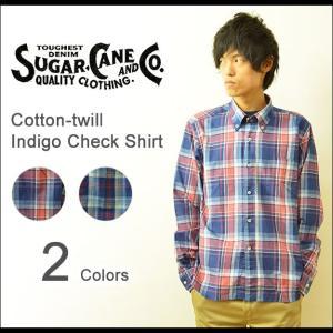 SUGAR CANE(シュガーケーン) インディゴ チェックシャツ メンズ 長袖 ボタンダウン インディゴ染め アメカジ ビンテージ 日本製 SC26897|robinjeansbug