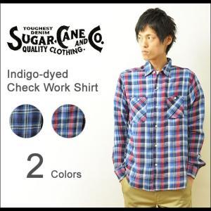 SUGAR CANE(シュガーケーン) インディゴ チェックシャツ メンズ 長袖 ワークシャツ コットンツイル 東洋エンタープライズ アメカジ ビンテージ 日本製 SC26888|robinjeansbug