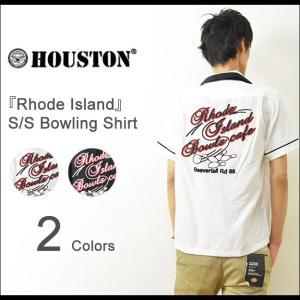 HOUSTON(ヒューストン) Rhode Island ボーリングシャツ メンズ 半袖 チェーン刺繍 レーヨン レトロ ロカビリー ロック スカ ボウリング 40072|robinjeansbug