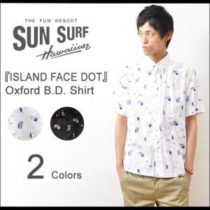 SUN SURF(サンサーフ) ISLAND FACE DOT オックスフォード ボタンダウンシャツ メンズ 半袖 ハワイアン アロハ ドット Masked Marvel ティキ SS36994|robinjeansbug