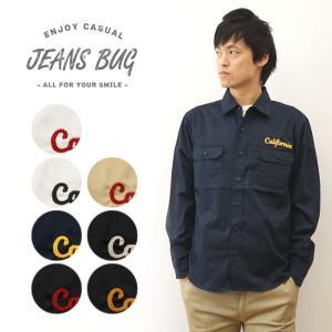 オリジナル California チェーンステッチ 刺繍 長袖 ワーク シャツ メンズ レディース 大きいサイズ 無地 キングサイズ XXL 3L 4L 5L 6L まで展開 LWKSH-CALI|robinjeansbug