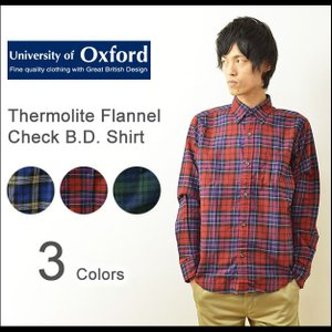 University of Oxford(オックスフォード) サーモライト フランネル チェックシャツ メンズ 長袖 ネルシャツ 軽量 保温 ボタンダウン 0701-55110|robinjeansbug