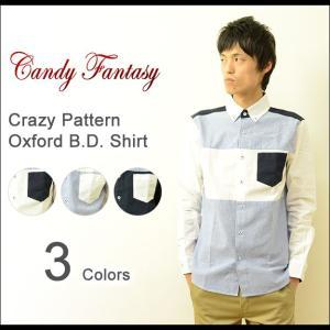 Candy Fantasy(キャンディファンタジー) クレイジー切り替え オックスフォードシャツ メンズ 長袖 ボタンダウン マルチカラー 16F063C|robinjeansbug