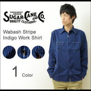 SUGAR CANE(シュガーケーン) ワバッシュ ストライプ ワークシャツ メンズ 長袖 ウォバッシュ ワバシュ ウォバシュ デニム インディゴ 日本製 SC25551A|robinjeansbug