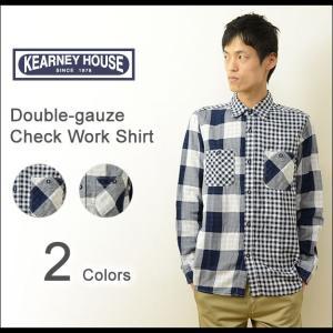 KEARNEY HOUSE(カーニーハウス) ダブルガーゼ チェックシャツ メンズ 長袖 ワーク ブロック ギンガム アメカジ キレイめ 薄手 コットン クレイジー 5501-61107|robinjeansbug